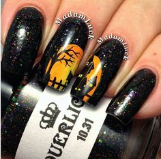 Halloween LE 10.31 Green Black Orange Purple Glitter Custom Handmade Indie Nail Polish by lacquerlicious