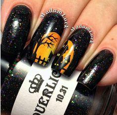 Halloween LE 10.31 Green Black Orange Purple Glitter Custom Handmade Indie Nail Polish by lacquerlicious