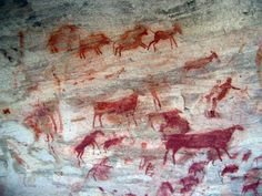 ancientart:The Bushmans Kloof rock art site in the Cederberg region of South Africa. Recently awarded the status of a South African National Heritage Site, Bushmans Kloof contains over 130 rock art sites, some of which date to 10,000 years before present. Stained with oxide pigments, these rocks depict the spiritual and cultural legacy of the San (also known as Bushmen), who have lived in these mountains for some 120,000 years. A particular point of interest about this rock art for some is…