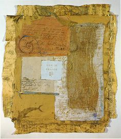 """Letters Impériales"" - Carolyn Quartermaine, mixed-media; combines hand-printed and painted silk papers with crayons, pigments, gold leaf and wax."