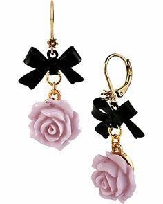 Betsey Johnson 'Fabulous Flowers' Black Bow and Light Purple Rose Earrings