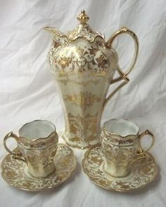 Fine Antique NIPPON Hand Gilded Porcelain Chocolate Set: Pot, Cups & Saucers. NR