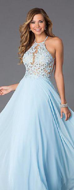 Fashion Chiffon Light Sky Blue A-Line Halter Evening Dress lkxdresses22235xff #longdress #promdress