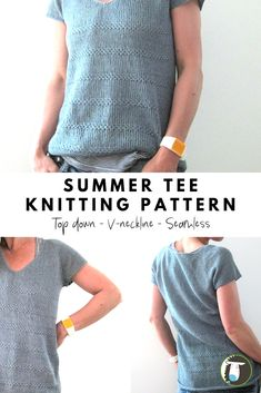 10 Summer Tee Knitting Patterns - This one is a v-neck seamless tee., 10 Summer Tee Knitting Patterns - This one is a v-neck seamless tee. It's knitted in-the-round from the top down. It also features textured stripes an. Sweater Knitting Patterns, Knitting Stitches, Knit Patterns, Free Knitting, Loom Knitting, Designer Knitting Patterns, Beginner Knitting, Knitting Tutorials, Knitting Machine