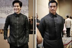 Who knew black barongs can be such a standout, and a handpainted one more elegant than cheesy. Barong Tagalog Wedding, Barong Wedding, Semi Formal Outfits, Formal Suits, Baro't Saya, Men's Street Style Paris, Modern Filipiniana Gown, Elegant Man, Black Suits