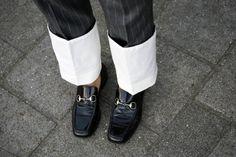 Loewe pinstripe pants gucci loafers
