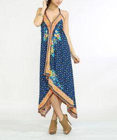 Look at this #zulilyfind! Blue & Orange Floral Drape Halter Maxi Dress #zulilyfinds