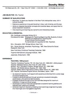 a chronological resume example for an esl english as second language teacher chronological resume is the best format for a teaching resume