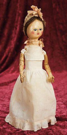 English Wooden Doll with Black Enamel Eyes