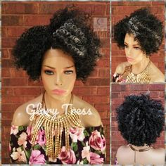 Kinky Curly Lace Front Wig, Curly Afro Wig, Gray Wig, Salt and Pepper Grey Wig, Glory Tress, READY to SHIP //  WISE Afro Wigs, Kinky Curly Hair, Curly Hair Styles, Curly Lace Front Wigs, Lace Wigs, U Part Wig, Grey Wig, Lace Hair, Brown To Blonde
