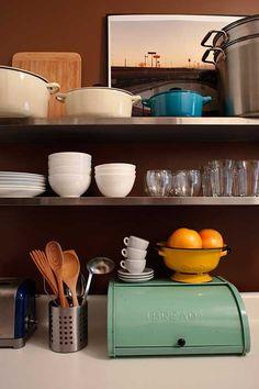 Galley kitchen - vintage bread box