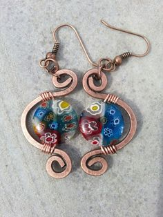 Murano glass wire earrings
