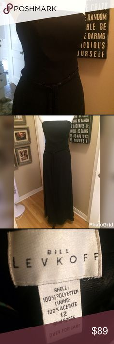 NWOT Bill Levkoff Long Black Belted Dress Never worn, sophisticated & classy, long strapless black dress, by Bill Levkoff. Dress has a chiffon overlay. Black Beaded belt/sash is removable. Comes with detachable spaghetti straps. This is brand new & perfect condition! Perfect for a formal occasion. Bill Levkoff Dresses Strapless