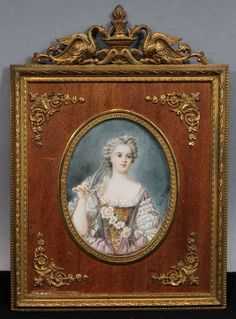 19thC Antique Jean Guy French Victorian Miniature Ivory Portrait Painting #JeanGuy