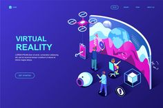 Virtual Reality Isometric Landing Page Template by alexdndz on Envato Elements Virtual Reality Education, Augmented Virtual Reality, Virtual Reality Goggles, Virtual Reality Videos, Virtual Reality Headset, Design Sites, Web Design, Logo Design, Design Trends