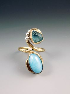 Larimar & Apatite golden ring...love it!