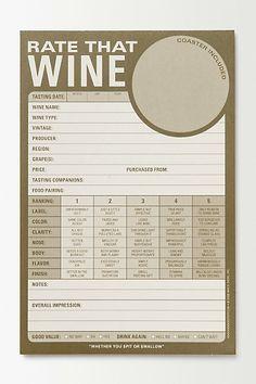 Wine Tasting Pad #anthropologie