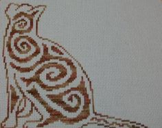 Floral Cat cross stitch pattern  set of 4 patterns  Instant