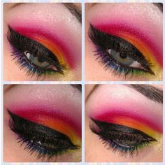 We love Reenerneener 's rainbow cut crease action! She used all Sugarpill and Inglot eyeshadows. So pretty!