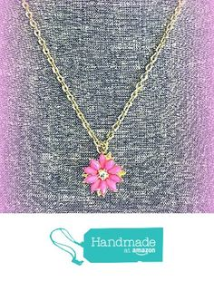 Upcycled Pink and Gold Flower Pendant Necklace with Rhinestones from NatureAngels - Handmade, Upcycled and Vintage http://www.amazon.com/dp/B015JWBLBA/ref=hnd_sw_r_pi_dp_hENfwb0V9NQH5 #handmadeatamazon
