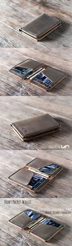 This perfect personalized, handmade leather wallet is made from distressed leather and hand-stitched.