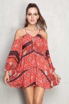 vestido ombro vazado estampado shadow | Dress to
