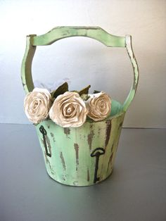 Vintage Planter Wooden Bucket Garden Decor .... soft cottage green color ~  by Swede13, $24.00