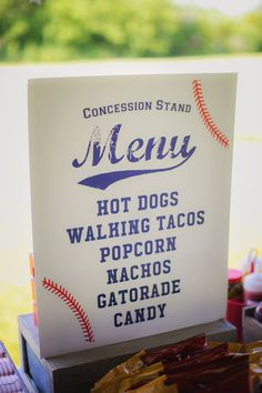 16 x 20 Baseball Party Concession Stand Menu Printable - Customized 16 x 20 Baseball Party Concession Stand Menu Printable - Customized <br> Baseball Theme Birthday, Sports Birthday, Boy First Birthday, 1st Birthday Parties, Birthday Ideas, Theme Parties, 4th Birthday, 1st Birthdays, Leaving Home