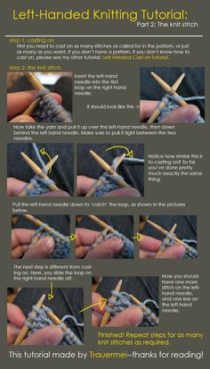 Did you know that today is International Left-handed Day? Are you a left-hand knitter or a right hander? Left-Handed Knitting Tutorial by ~Trauermei on deviantART
