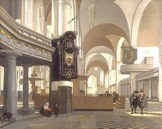 VIEW OF THE INTERIOR OF THE OUDE KERK IN AMSTERDAM