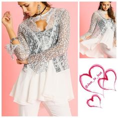 Ooh La La Lace Tunic S,M,L It's All in the Lace Tunic Top.  Lace detail throughout the top with off white bottom. Material is a cotton blend.  Sizes Small fits a woman 2-4, medium fits a woman's size 6-8 and large fits a woman's size 10-12.  No trades  Tops Tunics