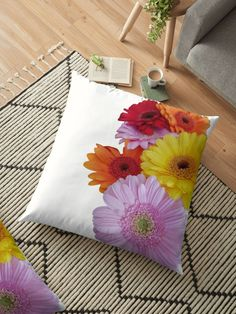A pretty bunch of flowers in a glass vase. Red, orange, yellow and pink gerberas are in the floral arrangement. The glass vase is hidden Throw Pillows Bed, Bed Throws, Floor Pillows, Decorative Throw Pillows, Floral Cushions, Bunch Of Flowers, Background S, Orange Yellow, Red And Pink