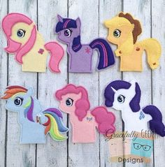 Cute Pony Finger Puppet Set Embroidery Design