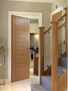 Beautiful oak veneered #internaldoor - the perfect complement to the stunning oak staircase JB Kind's River Oak - Isis #oakdoor
