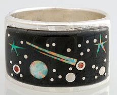 Calvin Begay Sterling Silver Night Sky Inlay Ring Size 10 | eBay