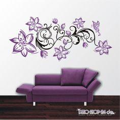 WANDTATTOO-Blumen-Ranke-2-farbig-Blumenranke-Schmetterling-Motiv-477-XL
