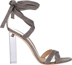 Gianvito Rossi Lucite Heel Ankle-Tie Sandals-Colorless