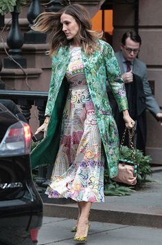 Sarah Jessica Parker: New York's fashion heavyweight SJP stepped out in a delightfully colourful spring ensemble. She takes a risk in wearing a drop-waist woodland inspired Giambattista Valli coat over an equally busy print dress from Mary Katrantzou's spring collection but manages to pull it off. Of course.