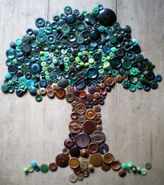 Fun craft idea with buttons...you could do so many designs like this!  Button Tree by Lisa Jordan - Lil Fish Studios