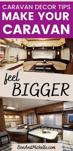 Tips for making your caravan interior look and feel bigger - these are mostly simple decor tips, but they will help to make the small interior space of your caravan look bigger and more spacious.  Caravan interior look bigger | Caravan decor tips | Caravan interior decorating ideas | Caravan decor ideas | Caravan decor ideas Motorhome Interior, Campervan Interior, Rv Interior, Interior Ideas, Interior Decorating, Decorating Ideas, Decor Ideas, Diy Caravan, Caravan Decor