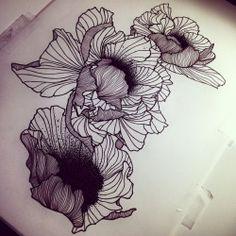 Massive Flowers…! Sketch tout frais et dispo pour être Tatoué! Fresh sketch…
