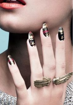 I'm a sucker for tribal design nails