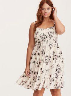652970b8b72 Floral Print Smocked Bodice Challis Dress. Plus Size ...