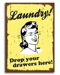 Laundry Room Decor // Retro Wall Art // Vintage Fun // by kardeeah