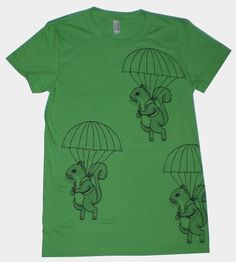 Parachuting squirrels! I have this shirt in a salmon-y color. Tis pretty wonderful.