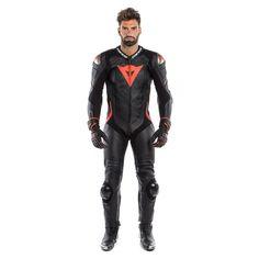 LAGUNA SECA 4 1PC PERF. LEATHER SUIT  BLACK/BLACK/FLUO-RED Motorcycle Wear, Motorcycle Leather, Bike Leathers, Biker Gear, Hip Bones, Bikers, Cowhide Leather, Motorbikes, Leather Jacket