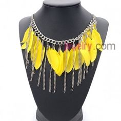 Gorgeous necklace with chain pendant and bright yellow feathers