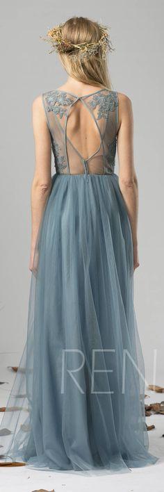 Bridesmaid Dress Dusty Blue Tulle Dress Wedding Dress,Illusion V Neck Maxi Dress,Open Back Lace Party Dress,Sleeveless Evening Dress