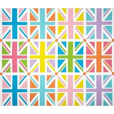 "Riley Blake Union Jack 24"" Panel Orange from @fabricdotcom  Designed by RBD Designers for Riley Blake, this cotton print panel features several repeats of the United Kingdom's Flag.  The panel measures about 24"" x 44"".  Colors include lime, pink, rose, turquoise, lavender, yellow and orange. Used for quilting and craft projects."