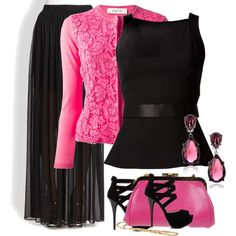 """PINK AND BLACK CONTEST"" by anneanton on Polyvore"